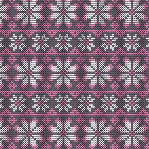Stickad rosa vit snöflinga