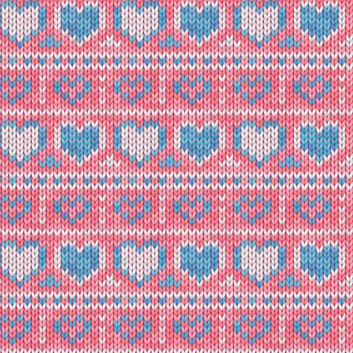 Stickat hjärta blåvit rosa